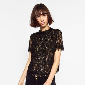 ZARA Black Lace Embroidered Top Sheer Party